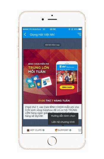 bình chọn thông qua app Zalo OA