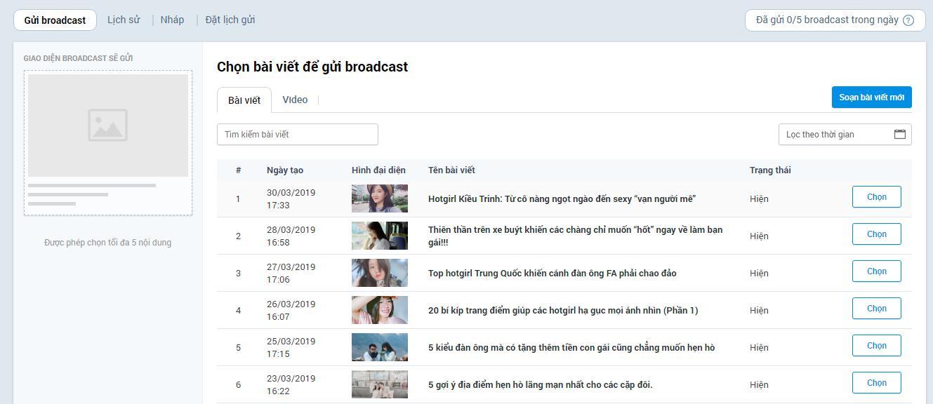 Chọn bài viết để gửi Broadcast trên Zalo Official Account