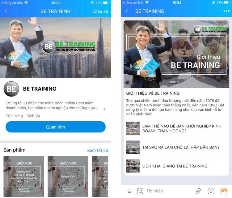 zalo official account giáo dục & đào tạo betraining