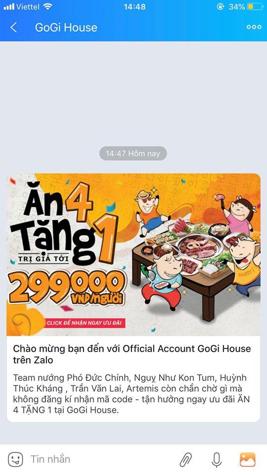 zalo official account goghi khuyến mãi