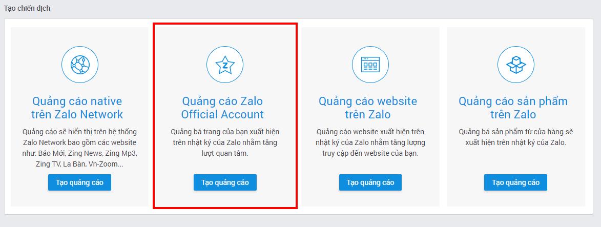 Cách chạy quảng cáo Zalo